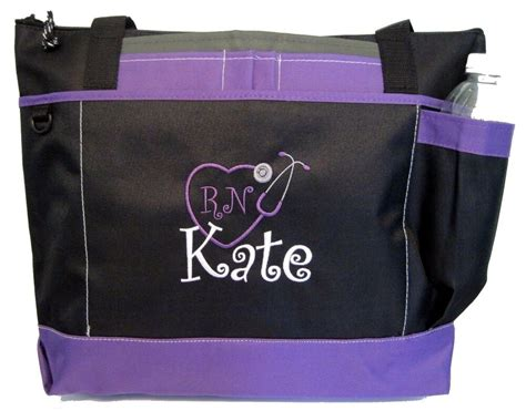personalized tote bag book monogram purple  business
