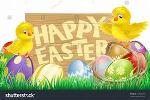 Easter Holiday Sign That Says Happy Stock Vector 126865259 ...