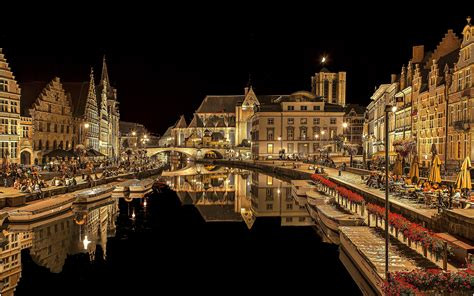 wallpapers ghent belgium canal night cities building