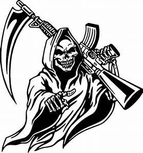 Grim Reaper Machine Gun Hunt Skull Car Truck Window Laptop ...