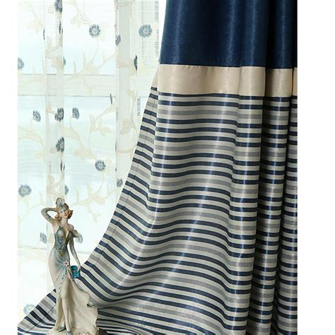brief navy blue blackout living room ready made striped
