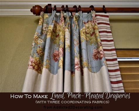 diy pinch pleated lined draperies with two accent fabrics