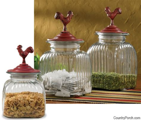 countryside rooster glass jars