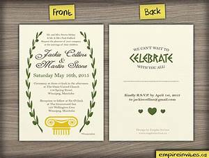 custom greek style wedding invitation from winnipeg With average cost wedding invitations canada