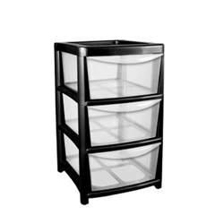 Asda Homeware Kitchen by 91l Premier 3 Drawer Plastic Storage Tower Clear Amp Black
