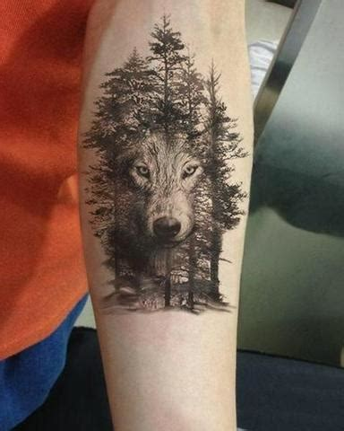 wolf  trees temporary tattoo  steampunk