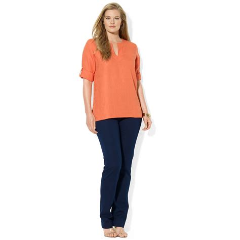 Tab Sleeved Linen Top by ralph plus size roll tab sleeve linen