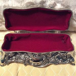 Sweet Vintage Godinger Old Silver Plated Rose Jewelry Box Red Velvet Collectible