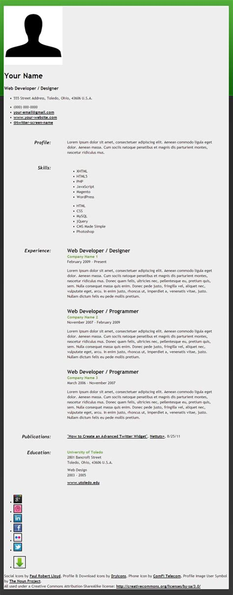 Resume Html by How To Create An Html5 Microdata Powered Resume