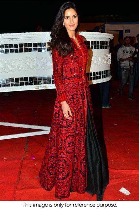 bollywood style katrina kaif bhagalpuri silk gown  red