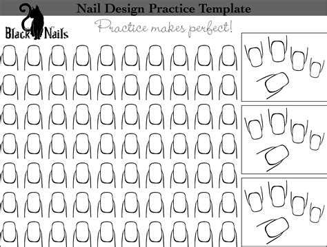 nail templates nail design practice templates or sheets all versions black cat nails