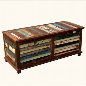 rustic multi color reclaimed wood shutter coffee table With coffee table with blanket storage