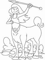 Centaur Coloring Spear Lady Sharp sketch template
