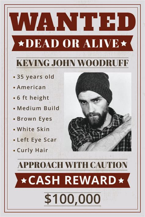 wanted poster templates  printable sample