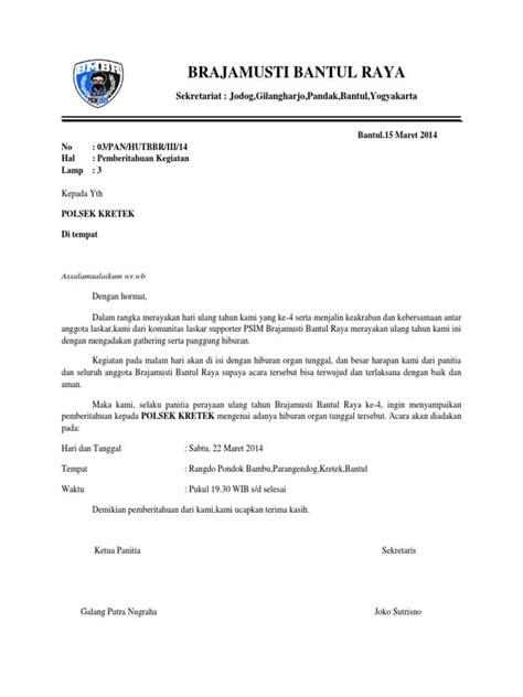 contoh surat pemberitahuan secara resmi  lengkap