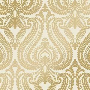 Shimmer Damask Metalic Wallpaper Cream / Gold (ILW980011 ...