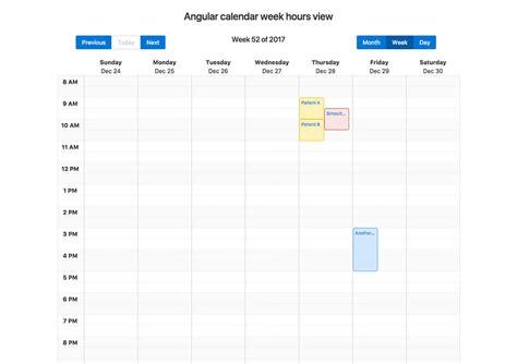 angular calendar week hours view npm