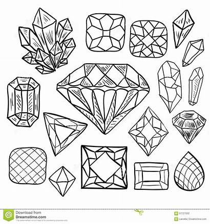 Crystal Jewelry Drawn Hand Doodle Coloring Pages