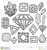 Crystal Coloring Doodle Drawn Gem Gems Jewel Vol Diamond Elements Getrokken Krabbel Reeks Gioielli Disegnato Insieme Scarabocchio Vettore Mano Dei sketch template