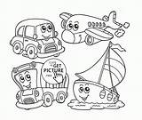 Coloring Pages Transportation Cartoon Cute Kindergarten Air Preschoolers Printable Limousine Printables Water Transport Wuppsy Preschool Sheet Balloons Fruit Bus Print sketch template