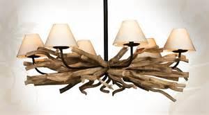 luminaire suspension en bois flotte