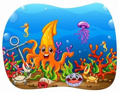 Animals Sea Water Under Vector Creatures Oyster