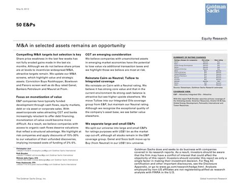 goldman sachs 50 e p equity research report