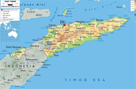 physical map  east timor ezilon maps