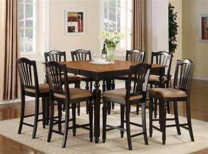 7pc square counter height dining room table set 6 stool ebay for Tall dining room table