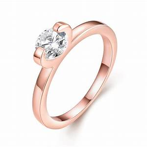 female classic wedding ring with zircon rose gold plated With wedding ring female