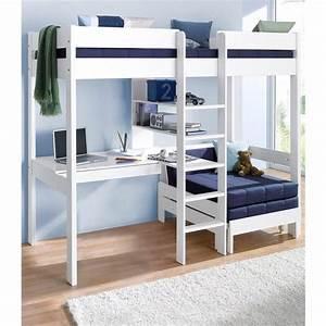 Lit Mezzanine Dressing : lit mezzanine avec plan de travail tag res blanc ~ Premium-room.com Idées de Décoration