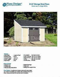8 U0026 39  X 10 U0026 39  Deluxe Shed Plans Lean To  D0810l  Material List