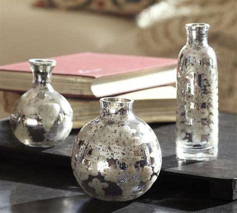 etched mini mercury glass vases set   pottery barn