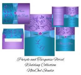 teal wedding cakes purple turquoise floral monogram wedding the barefoot wedding invitation suites