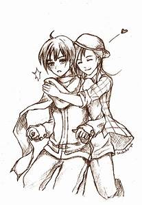 Anime Girl And Boy Hugging Sketch | www.imgkid.com - The ...