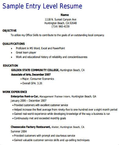 Entry Level Customer Service Resume sle customer service resume exles in word pdf