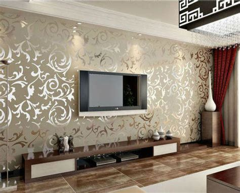 designer living room wallpaper tv unit wallpaper