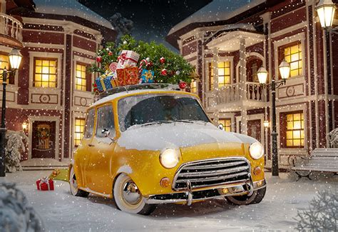 Images New Year Yellow New Year Tree Snow Present Cars
