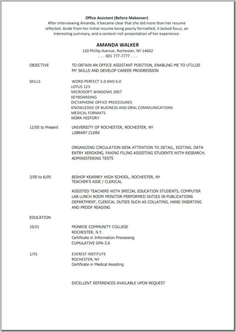 Resume Templates For Assistant by Free Resume Templates Indeed Cv Exles
