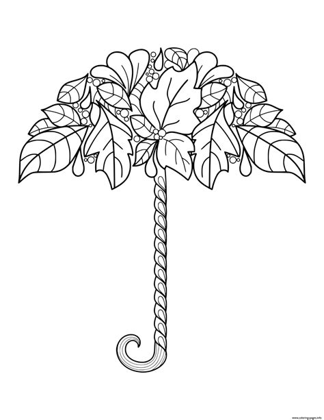 fall autumn leaf umbrella  adults coloring pages printable
