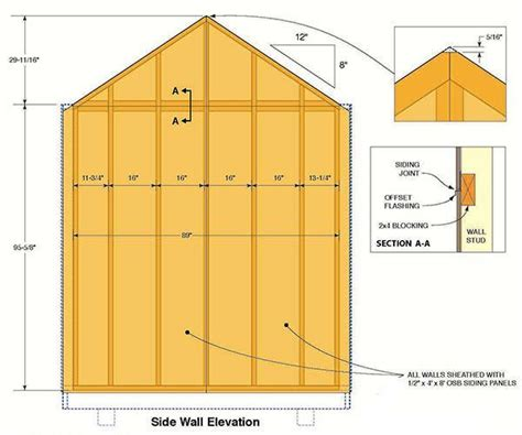 8 215 12 garden shed plans blueprints for spacious gable shed
