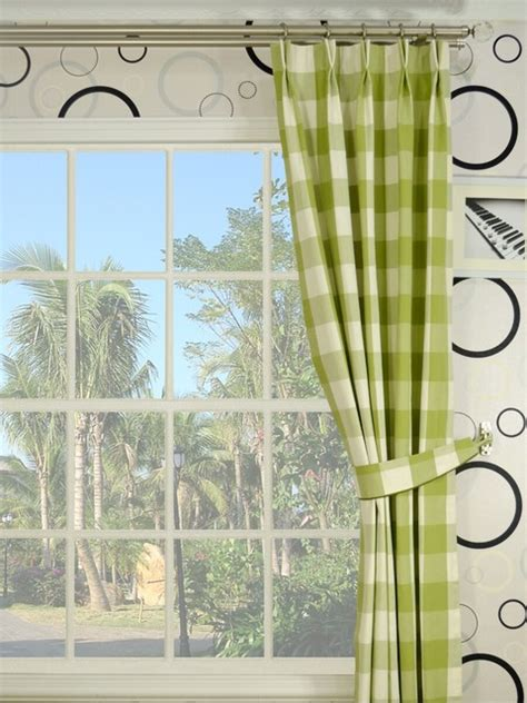 green plaid pinch pleat cotton curtains modern