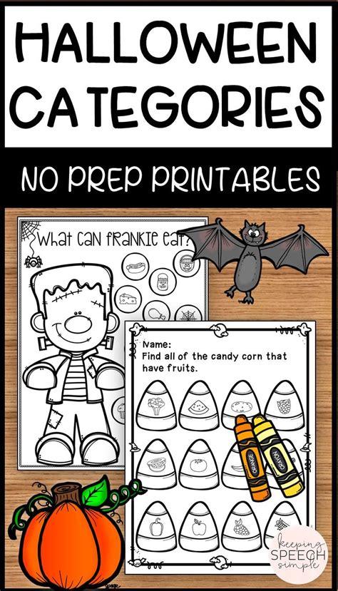 categories  prep worksheets halloween themed