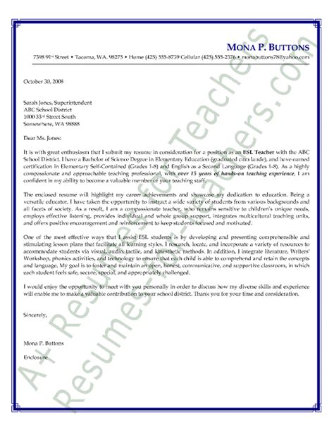 esl english    language teacher cover letter sample