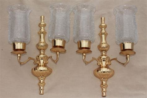 Glass Shades For Wall Sconces - vintage polished brass candle sconces wall sconce set w