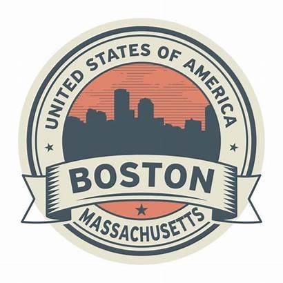 Boston Massachusetts Stamp Vector Label Illustration Clip