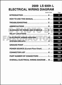 2009 Lexus Ls 600h L Wiring Diagram Manual Original