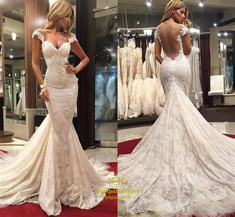 Ivory Backless Cap Sleeve Lace Mermaid Wedding Dress With