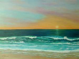 Colorful Sunset Beach Paintings Painting by Amber Palomares