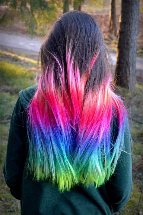 ombre colorful hair pink blue rainbow ombre dip dyed hair color inspiration